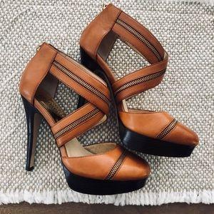 Michael Kors Platform Cognac Tan Leather Heels 8.5